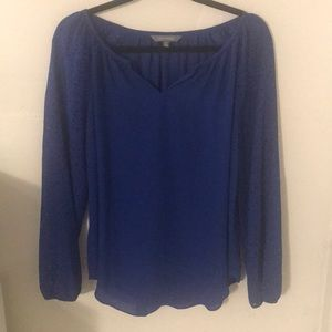 Blue blouse with cut out sleeves